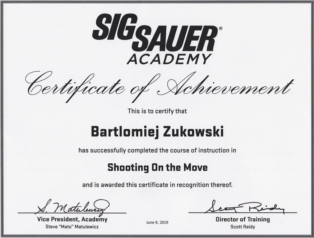 Shooting on the move by SigSauer