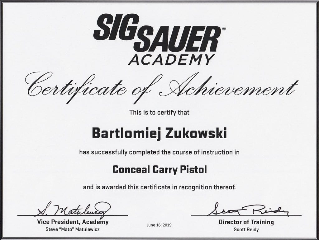 Concealed Carry Pistol by SigSauer